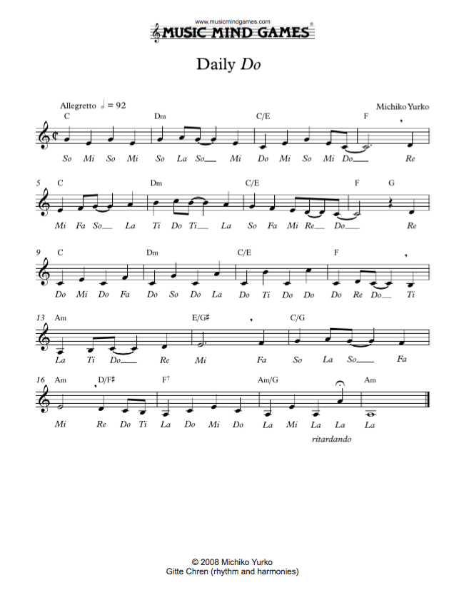 All Music Chords sheet music to print : Daily Do - Major Section | Page 16 | Music Mind Games
